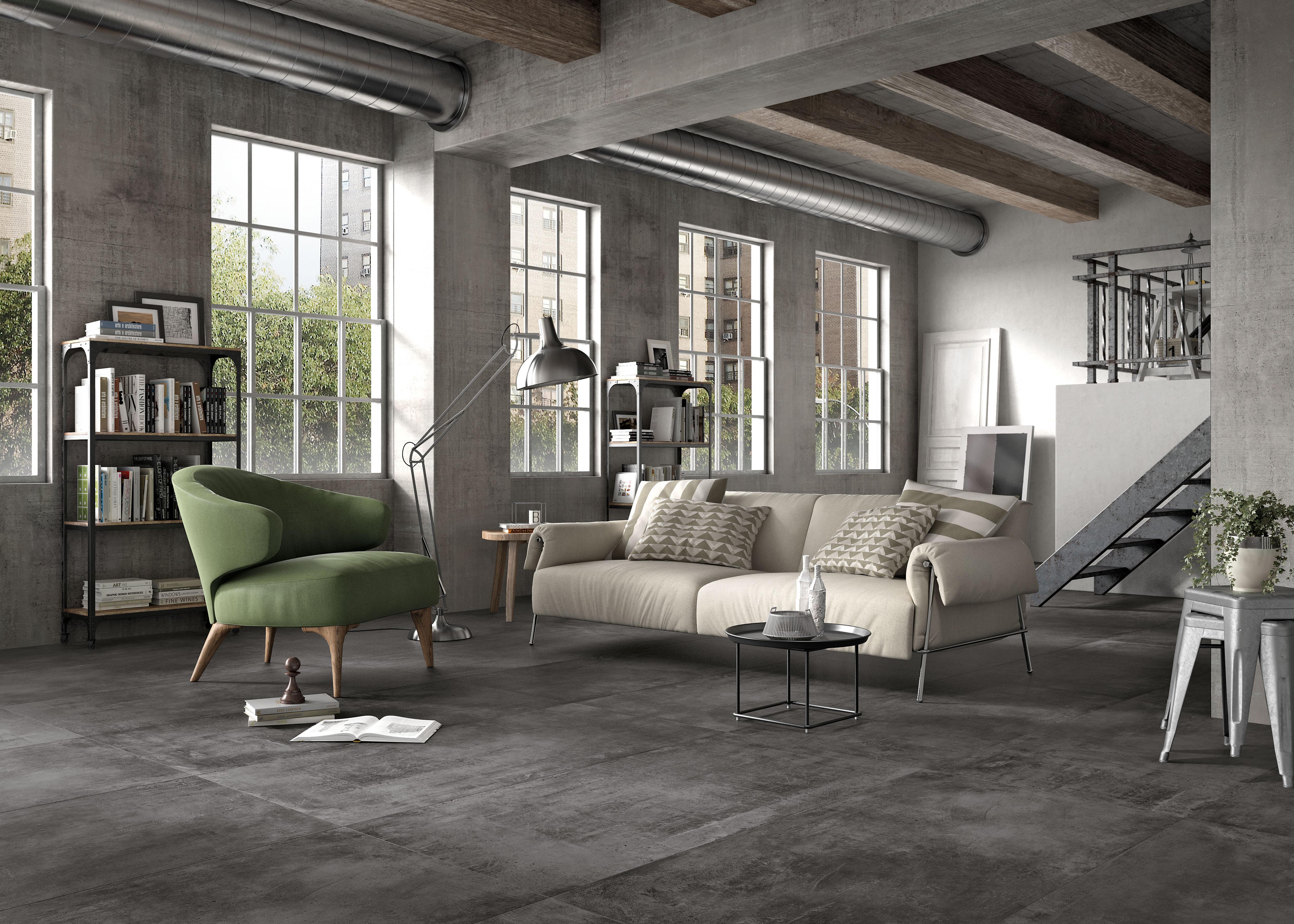 Anthrazit Betonfliesen im Wohnzimmer, anthracite concrete effect tiles in living room